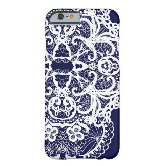 Modern Full White Lace on Navy Background Barely There iPhone 6 Case