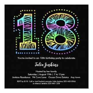 Modern Fun 18th Birthday Party Invitation