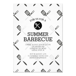 Modern Fun Black White Summer Barbecue Party Card