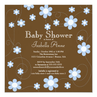 """Modern & Fun blue Flowers Floral Baby Shower 5.25"""" Square Invitation Card"""