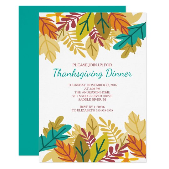 Modern Fun Fall Leaves Thanksgiving Dinner Card