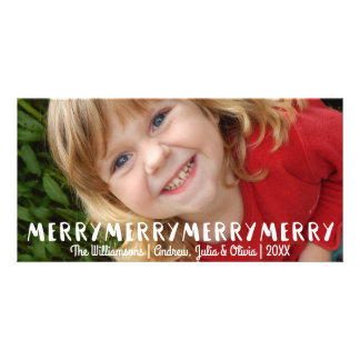 Modern Fun Merry Merry Christmas Holiday Photo Picture Card