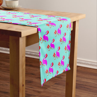 Modern Fun  Pink Flamingo Merry Christmas Short Table Runner