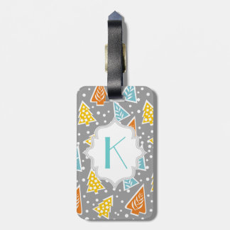 Modern, funky Christmas trees pattern, monogram Luggage Tag