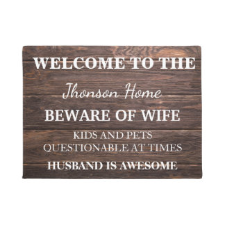 Modern Funny Family Name Welcome Personalized Doormat