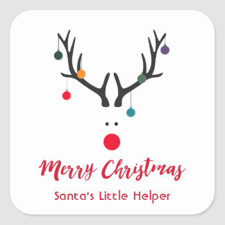 Modern funny Santa's helper reindeer on white Square Sticker