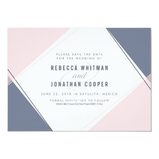 Modern Gem Blush and Navy Save the Date Card