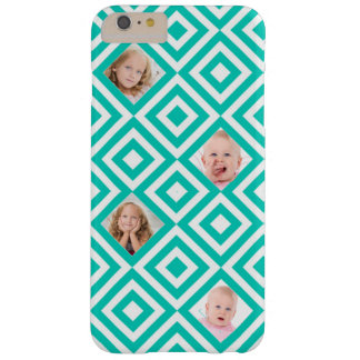 Modern Geometric 4 Photo Collage in Teal Barely There iPhone 6 Plus Case