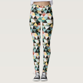 Modern Geometric and Tropical Fusion Leggings