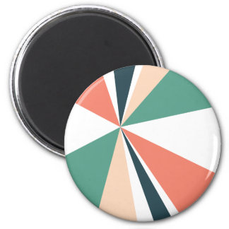 Modern Geometric Art Retro Color Burst 2 Inch Round Magnet