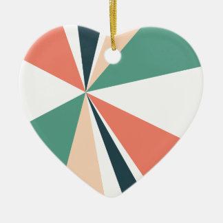 Modern Geometric Art Retro Color Burst Ceramic Heart Ornament