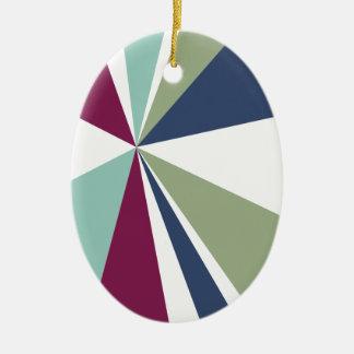 Modern Geometric Art Retro Color Burst Ceramic Oval Ornament