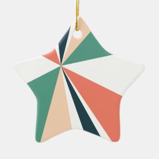 Modern Geometric Art Retro Color Burst Ceramic Star Ornament