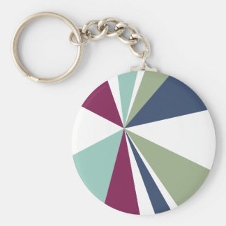 Modern Geometric Art Retro Color Burst Keychain