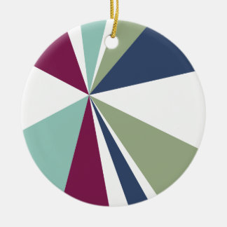 Modern Geometric Art Retro Color Burst Round Ceramic Ornament