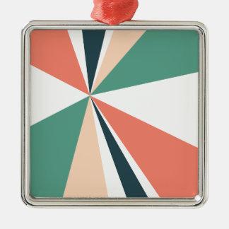 Modern Geometric Art Retro Color Burst Silver-Colored Square Ornament