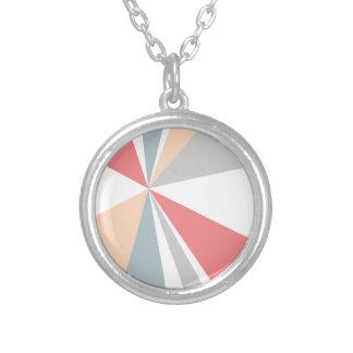 Modern Geometric Art Retro Color Burst Silver Plated Necklace
