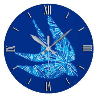 Modern Geometric Bird, Cobalt and Sky Blue Large Clock
