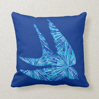 Modern Geometric Bird, Cobalt and Sky Blue Throw Pillow