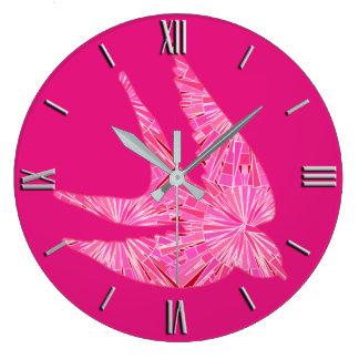 Modern Geometric Bird, Fuchsia and Light Pink Large Clock