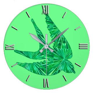 Modern Geometric Bird, Jade and Emerald Green Large Clock