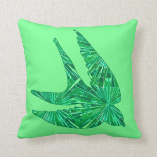 Modern Geometric Bird, Jade and Emerald Green Throw Pillow