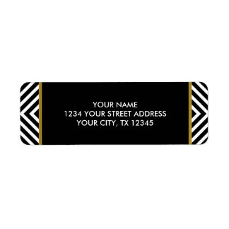 Modern Geometric Black and White Diamond Pattern Return Address Label