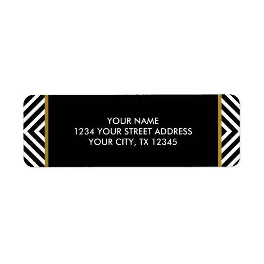 Modern Geometric Black and White Diamond Pattern Return Address Label