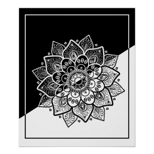 Modern Geometric Black & White Mandala Poster | Zazzle.ca
