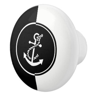 Modern Geometric Black & White Nautical Anchor Ceramic Knob