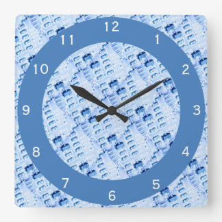 Modern Geometric Blue Pattern Square Wall Clock