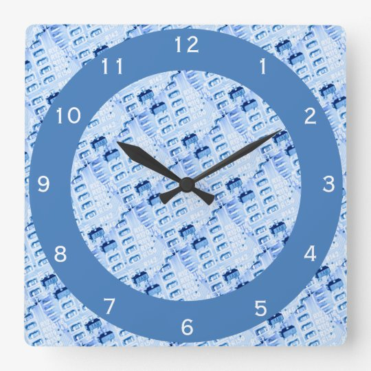 Modern Geometric Blue Pattern Wallclocks