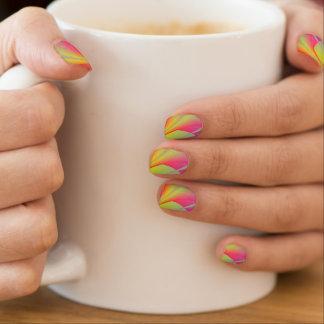 Modern Geometric Bright Nail Art Gold and Pink