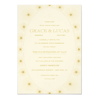 Modern Geometric Burst Wedding Invitation