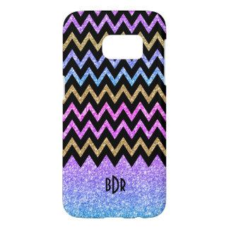 Modern Geometric Colorful Glitter Texture Chevron Samsung Galaxy S7 Case