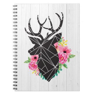 Modern Geometric Deer & Shabby Roses Rustic Wood Notebooks