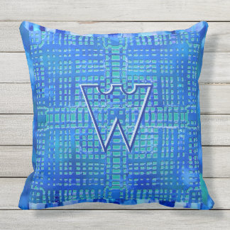 Modern Geometric Design in Blues and Teal Monogram Outdoor Pillow