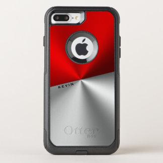 Modern Geometric Design Red & Silver Metallic Look OtterBox Commuter iPhone 7 Plus Case