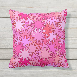 Modern Geometric Gears, Fuchsia and Pink Outdoor Pillow