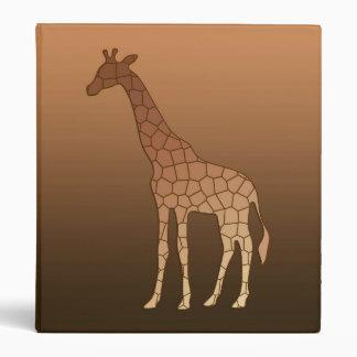 Modern Geometric Giraffe, Copper and Brown Binder