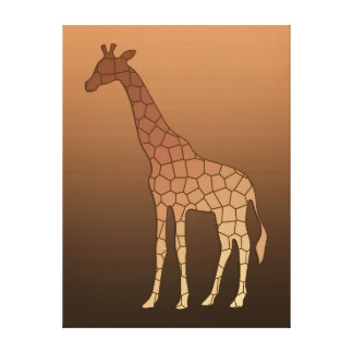 Modern Geometric Giraffe, Copper and Brown Canvas Print