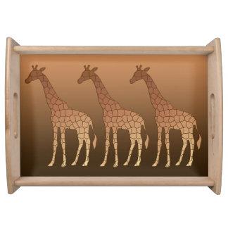Modern Geometric Giraffe, Copper and Brown Serving Tray