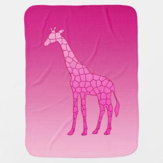 Modern Geometric Giraffe, Fuchsia and Light Pink Baby Blanket