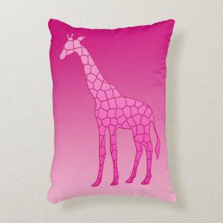 Modern Geometric Giraffe, Fuchsia and Light Pink Decorative Pillow
