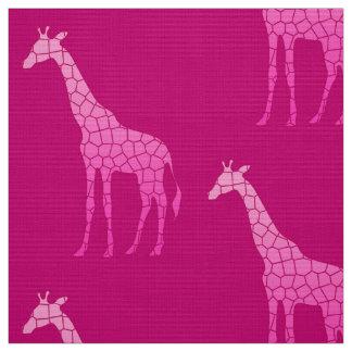 Modern Geometric Giraffe, Fuchsia and Light Pink Fabric