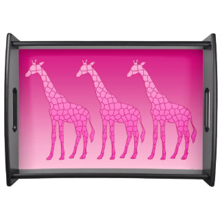 Modern Geometric Giraffe, Fuchsia and Light Pink Serving Tray