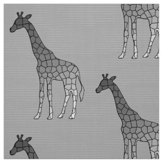 Modern Geometric Giraffe, Silver Gray / Grey Fabric