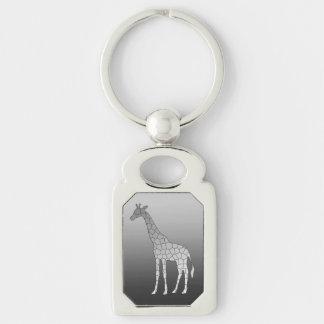 Modern Geometric Giraffe, Silver Gray / Grey Keychain