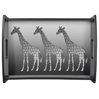 Modern Geometric Giraffe, Silver Gray / Grey Serving Tray