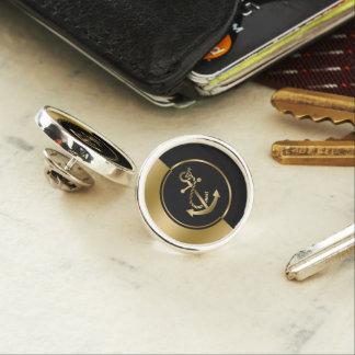 Modern Geometric Gold & Black Boat Anchor Lapel Pin